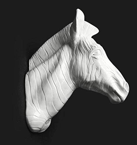 YsKYCA Estatua Escultura Decoración,Accesorios De Adorno De Estatuilla Kit Figura Animal Accesorios para El Hogar Mobiliario Animal Spot Caballo Colgante Pared sobre La Cabeza De Cebra Esculpir Mural
