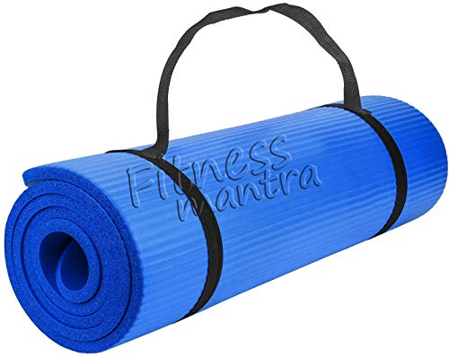 Fitness Mantra® Yoga Mat with Carrying Strap for Gym Workout and Yoga Exercise with 6mm Thickness, Anti-Slip Yoga Mat for Men & Women Fitness[with Free Strap][Thickness 6MM] (Blue, 6MM)