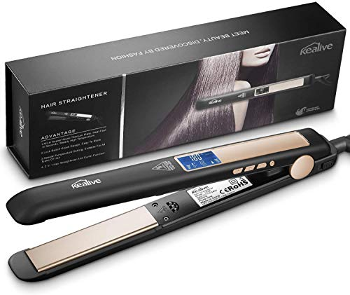Hair Straightener, Kealive Two in One Hair Straightener with 1 Inch Anti-Frizz Titanium Floating Flat Iron with Adjustable Temperature & LCD Screen, Instant Heat Up and Dual Voltage V106