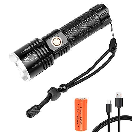 Linterna LED Recargable Alta Potencia, 15000 Lúmenes XHP90LinternaLED con 5 Modos, Zoom Telescópico, Linterna Táctica Impermeable para Camping, Senderismo, Emergencia (Batería 26650 Incluida)