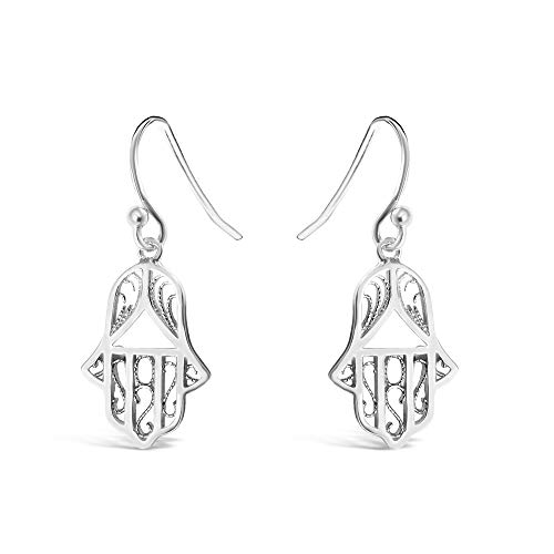 925 Sterling Silver Hand of Fatima Evil Eye Protection Dangling Filigree Earrings - Jewish Hand of Hamsa