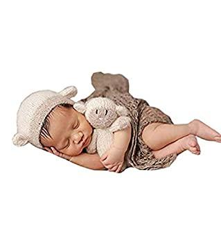Pinbo Newborn Baby Photography Prop Lamb Hat Beanie with Lamb Dolls Accessories