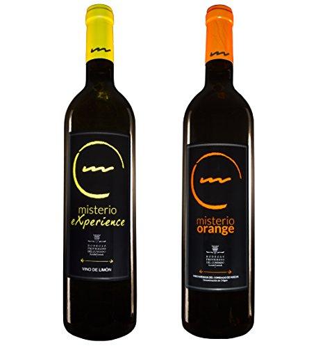 Pack de 2 Botellas Vino de Postre o Aperitivo - 1 Botella Vino de Limón Misterio Experience y 1 Botella de Vino de Naranja Misterio Orange de 0,75L