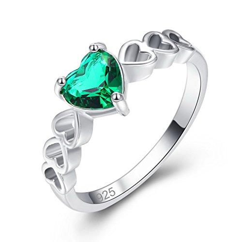 YAZILIND Verde corazón cúbicos Zirconia Anillo Forma Hueca Platino Plateado Boda joyería para Mujeres tamaño 19, 5
