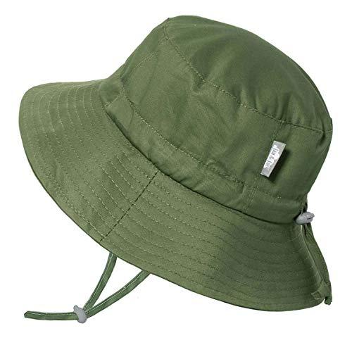 Jan & Jul Newborn Infant Baby Girl Boy Cotton Bucket Sun Hat 50 UPF Protection, Adjustable Good Fit, Stay-on Tie (S: 0-6m, Green)