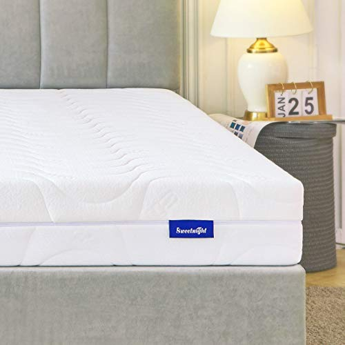Colchón de espuma fría Sweetnight, ortopédico, colchón 2 en 1, dureza H3 y H4, con funda de microfibra lavable, cremallera en los 4 lados, altura 18 cm, microfibra, Blanco, 140 x 200 cm