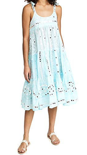 Juliet Dunn Women's 70's Sun Dress, Tie Dye Turquoise/White, 1