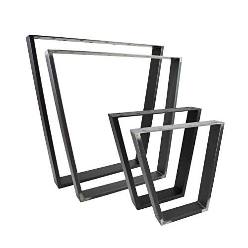 2x Natural Goods Berlin Design Tischkufen viele Modelle Metall Tischbeine | Tischgestell aus Stahl | geineigt, Trapez | Esstisch, Schreibtisch, Couchtisch, Bank (V-FORM - H72cm, Schwarz)