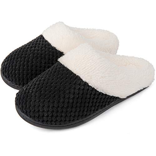 ULTRAIDEAS Damen Komfortable Korallenwolle Memory Foam Slipper Fuzzy Plüsch Futter Slip Cover-Kleiderschrank Schuhe für den Innen- und Außenbereich,Schwarz,42/43 EU