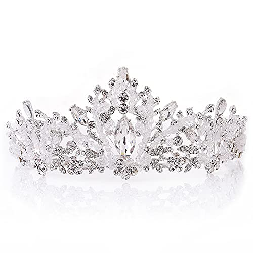 xiangqian Kristalle Prinzessin Krone,Braut Strass Kristall Krone,Haarpflegezubehör,Korean Style Bridal Rhinestone Crystal Crown Wedding Party Hair Accessory Headband...