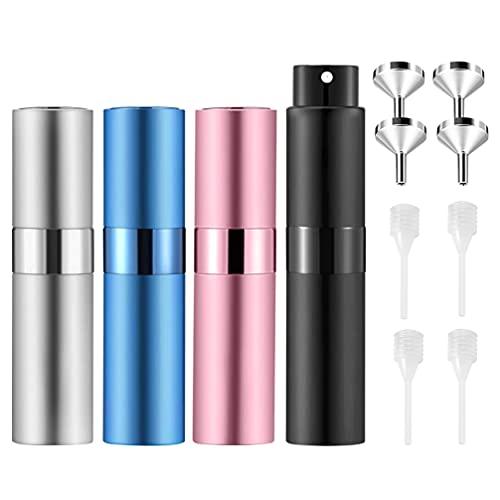 FRCOLOR 4 Botellas de Perfume de Viaje de 8Ml Dispensador de Perfume Recargable Vacío para Viaje con 4 Embudos Y 4 Goteros
