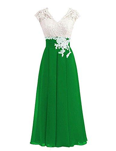 Libaosha Women's Lace Top Button Bridesmaid Dress With Cap Mother Of The Bride Dress 12 Green