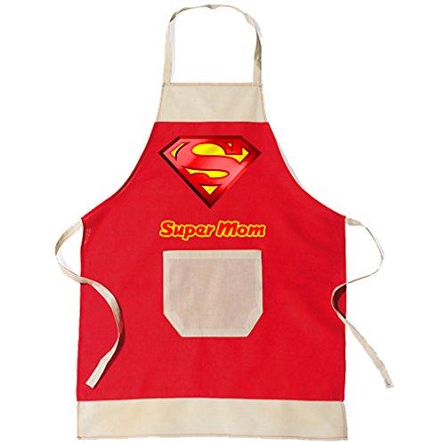 SHIRT-TO-GO BBQ Grillschürze & Küchenschürze in rot Super Mom als Geschenkidee