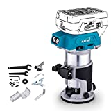 KATSU Cordless Wood Trimmer Laminator Router Joiners Tool 18V with 3 Chucks Collets 1/4', 6mm and 8mm Body...