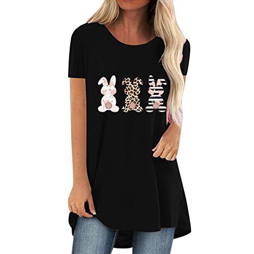 Proumy Oversize T-Shirt Damen mit Süßer Hase Aufdruck Kurzarm Casual Lose Oberteile Tops Sommer Vintage Lässig Rundhals Bluse Tee Shirt (Schwarz -01,XL)