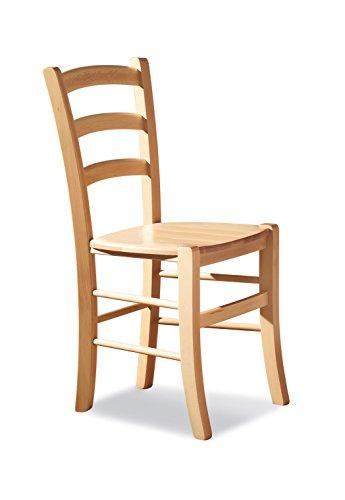 Mobili Ilar Lot de 2 chaises Venezia – Naturel 100 Siège en bois