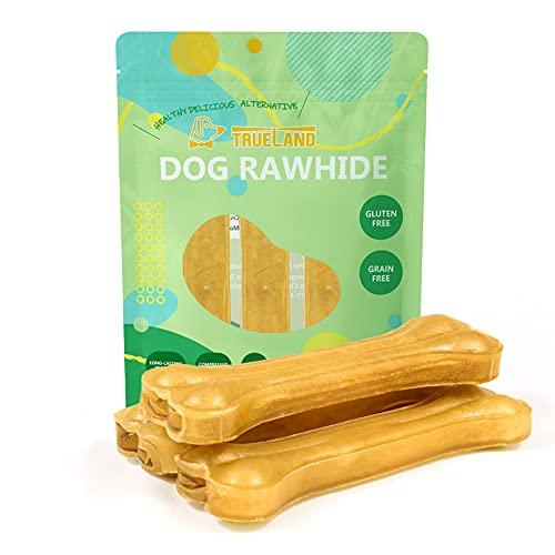 rawhides Trueland Rawhide Dog Chews 5IN Premium Compressed Rawhide Bones for Dogs Long Lasting Dog Chews Pressed Rawhides Beef Hide Bones for Dog 3 Pack