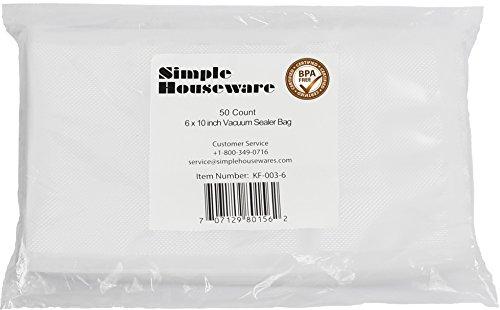 "50 Pack SimpleHouseware 6X10"" Pint Size Commercial Vacuum Sealer Bags Food Storage Saver Compatible to Foodsaver Sous Vide"