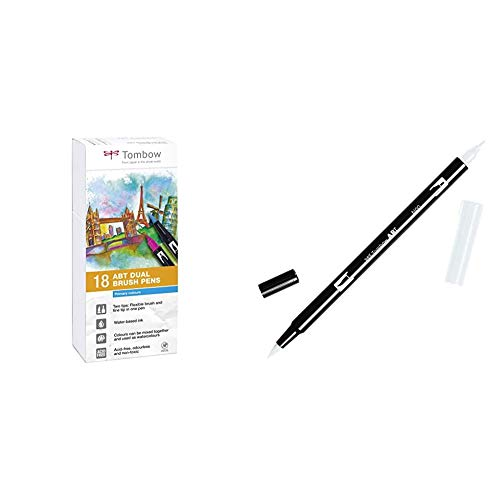 Tombow ABT-18P-1 Fiber Pen Dual Brush Pen con dos puntas Juego de 18 primarios + Rotulador de punta doble, color multicolor (N00 Blender)