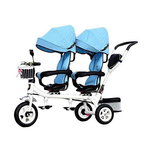 TQJ Cochecito de Bebe Ligero Triciclo Niños, 4 En 1 Trike por Dos Piezas: Niño De 3 Ruedas del Triciclo Bici con La Cesta, Infantil del Bebé Gemelo Asientos Carro For 1-7 Años De Edad (Color : Blue)