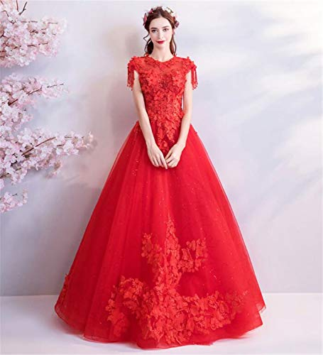 LYJFSZ-7 Hochzeitskleid,Rote Seide Tüll Spitze Bestickt EIN Wort Princess Wedding Dress No.07458