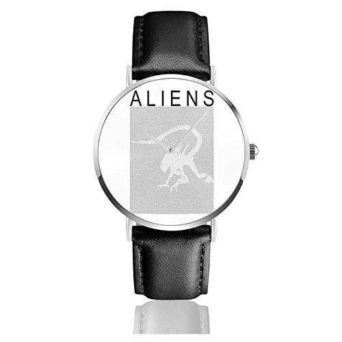 Unisex Business Casual Aliens Xenomorph Film Drehbuch Silhouette Uhren Quarz Lederuhr