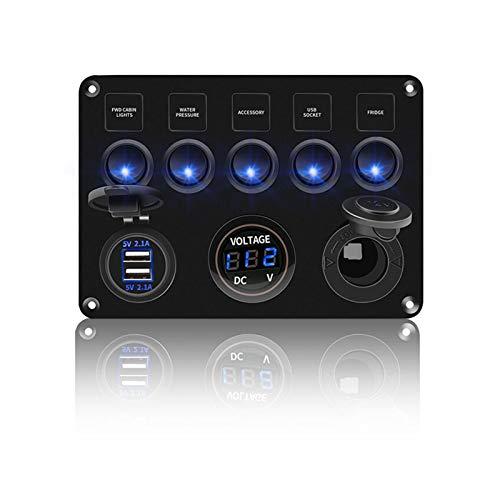 LOVELIN Lovelin17 Panel de Interruptor de Rocker LED con voltímetro Digital Doble USB Puerto USB 12V Combinación de interruptores a Prueba de Agua Ajuste para el Barco Marino del Coche (Color : Blue)