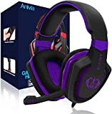 Wired Over Ear Stereo Gaming Headset Headband Headphones with Mic 50mm HiFi Speakers Noise Reduction for PC/MAC/ PS4/ PSP/Playstation Vita/ 3DS/ Switch/Mobile Phones/Tablets