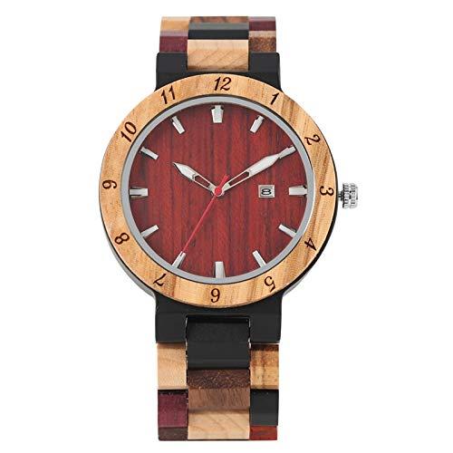 Reloj de Madera Retro para Hombre, Reloj de Pulsera deMadera de Color con Banda Ajustable, Fecha, Calendario, Reloj dePulsera paraHombre,blackdial