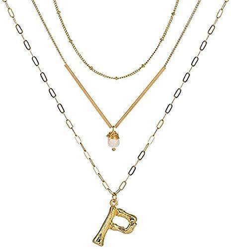 huangshuhua Collar Collar Oro Metal Letra Alfabeto Colgante Collar Encanto Cadena de eslabones en Capas de Oro Barra de Metal para Regalo de niñas