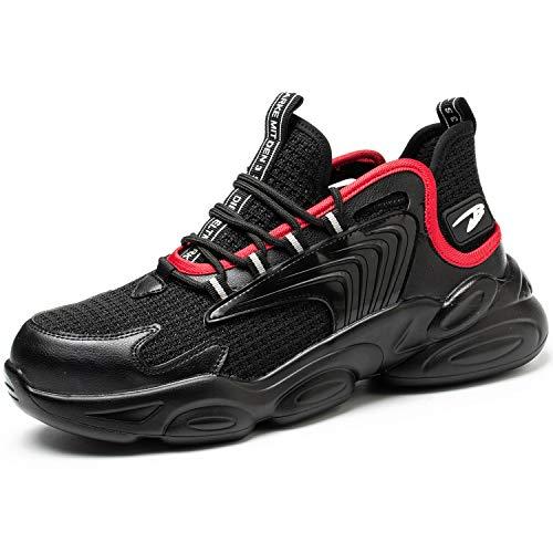 PAQOZKC Chaussure de Securité Homme Femme Montante Legere Chaussures de Travail Hiver Embout de Protection en Acier Bottes de Sécurité Imperméable Chaussure Protection Baskets Chantier(783/red/42)