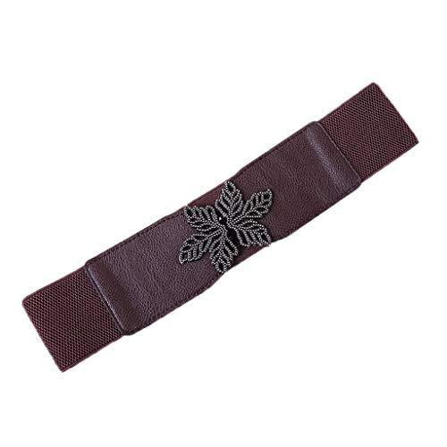 Yue668 - Cinturón elástico para mujer, cinturón de personalidad, extensible, negro, marrón, blanco, café, rojo, 65 x 6 cm