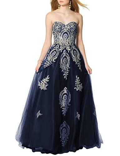 SongSurpriseMall Ballkleider Brautkleider Damen Lang Hochzeitskleider Abendkleid Quinceanera Kleider Tüll Spitze 2019 Navy blau EU52