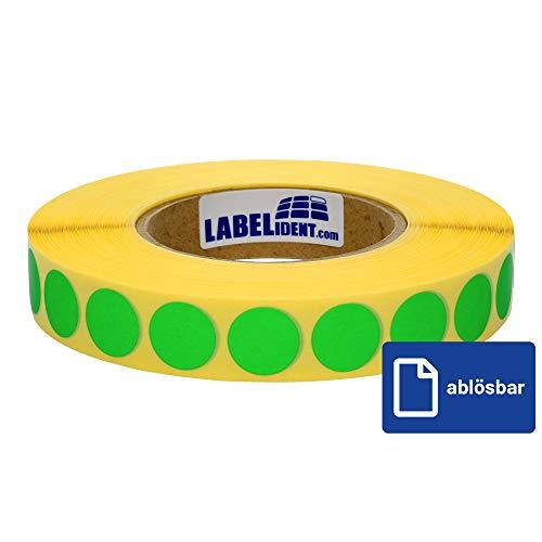 Labelident Markierungspunkte grün - Ø 30 mm - 1000 bunte Klebepunkte, 1 Rolle(n), 3 Zoll Rollenkern, Papier wieder ablösbar