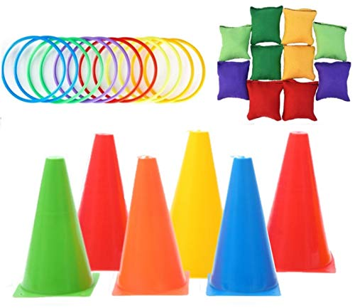 KAHEIGN 26Pcs Toss Game Set with Bean Bags Toss Ring Traffic Cone Markers for Outdoor Garden Carnival Game Party Supplies Agility Training Game [5 Colors]