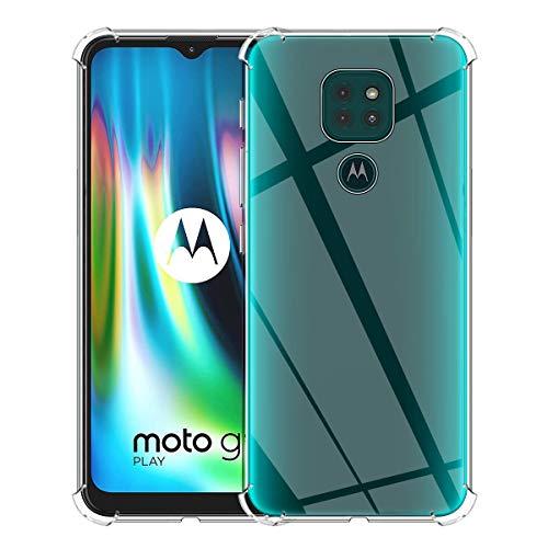 ELYCO Funda Cristal Compatible con Motorola Moto G9 Play, Carcasa Cristal Ultra Slim Flexible Suave Silicona TPU Bumper Clear Anti-arañazos Antigolpes Case Cover para Moto G9 Play-Transparente
