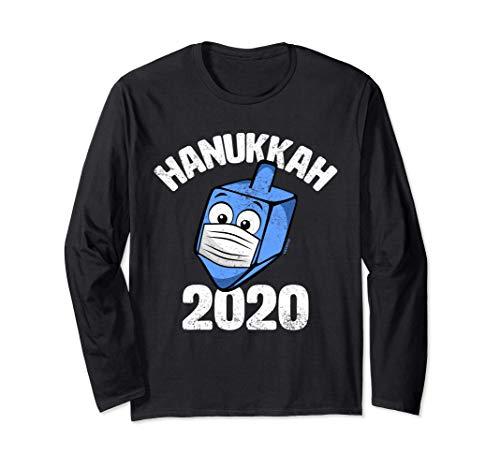 Funny Hanukkah 2020 Dreidel Wearing Face Mask Graphic Long Sleeve T-Shirt