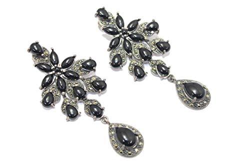 PH - Pendientes colgantes hechos a mano para mujer, plata de ley 925, ónix negro, piedras de marcasita S