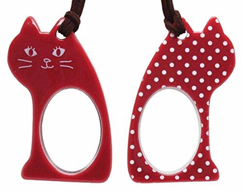 Lente(レンテ)・ペンダントルーペ PR-017-5 座ニャン かわいい猫型ルーペ 母の日・敬老の日・お誕生日などのおしゃれなプレゼントにも! (レッド×ホワイトドット)
