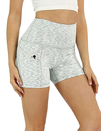 """ODODOS Women's 5"""" High Waist Biker Shorts with Pockets, Tummy Control Non See Through Weokout Sports Athletic Running Yoga Shorts, SpaceDyeWhite, X-Large"""