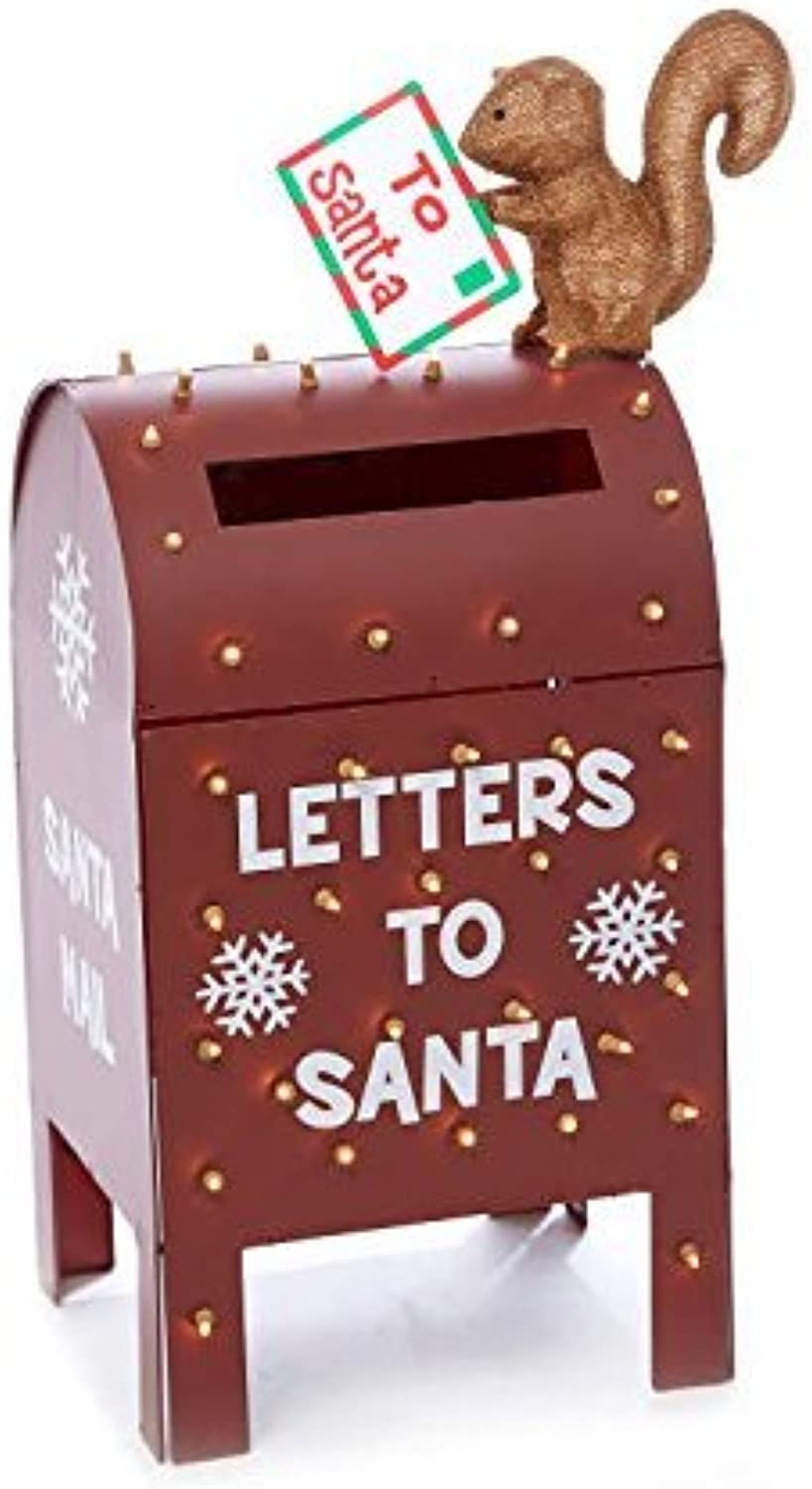 Winter Wonder Lane -  Letters to Santa  Light-Up Metallic Mailbox - 37.5 Inched Tall