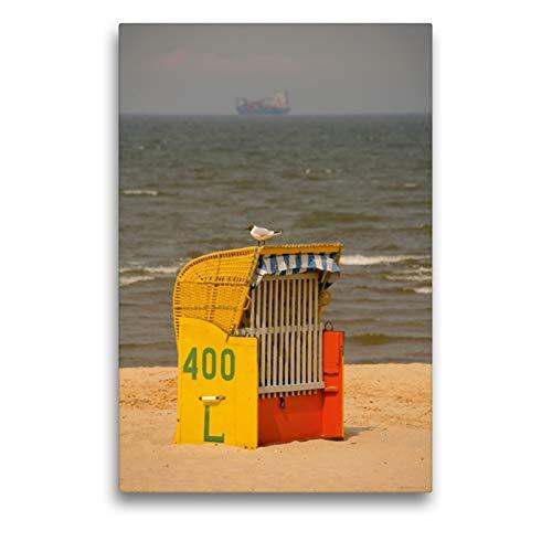 Premium Textil-Leinwand 50 x 75 cm Hoch-Format Strandkorb mit Möwe | Wandbild, HD-Bild auf Keilrahmen, Fertigbild auf hochwertigem Vlies, Leinwanddruck von Martina Berg
