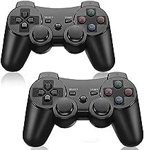 Manette sans fil pour PS3, manette de jeu haute performance à double choc pour Playstation 3 (Pack de 2, Black)