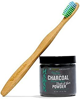 Whitening Tooth Powder with Activated Charcoal for Teeth & Gums (Refreshing Spearmint) +1 Eco-Friendly Biodegradable Bamboo Toothbrush - Safe on Enamel, Detoxifying, Plant-based & Cruelty Free