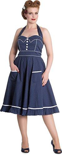 Hell Bunny Vanity Polka Dots Punkte Petticoat Kleid (M| Blau mit weißen Dots) | Bekleidung > Kleider > Petticoat Kleider | Hell Bunny