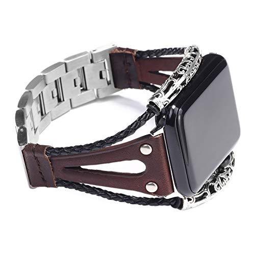 CHENPENG Correa de reemplazo, Compatible con Apple Watch 38mm 42mm, Banda de Cuero de Acero Inoxidable Correa de Pulsera de Ocio,Marrón,42mm