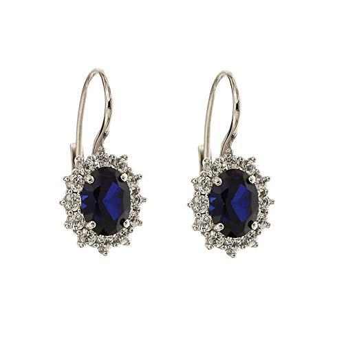 Orecchini In Oro Bianco 18k 750/1000 Con Pietre Colorate, Quarzo blu