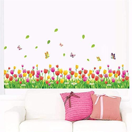 Muursticker,Landelijke stijl Tulp Bloem Vlinder Plint Diy Muurtattoo Home Decor Woonkamer Slaapkamer Raamdecoratie