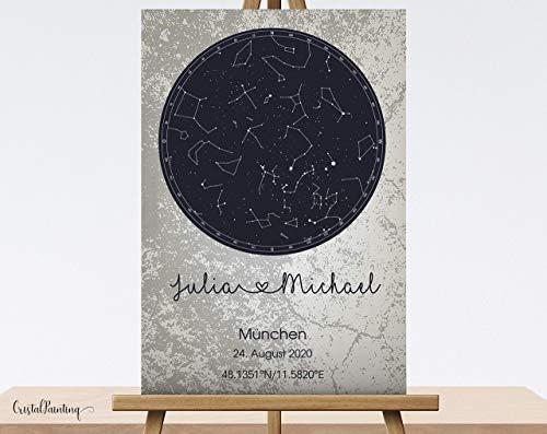 Geburtstagsgeschenk Personalisierte Sternenkarte, Sternenhimmel auf Leinwand, Hochzeitsgeschenk