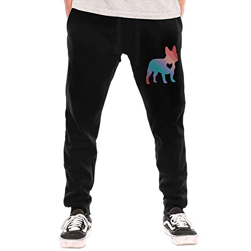Colorful French Bulldog Sweatpants Jogger Pant Men Pajama Pants for Outdoor Exercising Gym Black